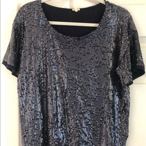 JCrew sequin short sleeve blouse, size xs